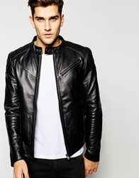 Barney's Leather Shoulder Patch Biker Jacket Black