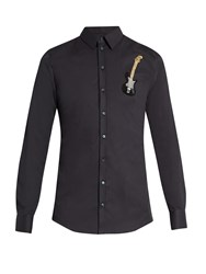 Dolce And Gabbana Sicilia Fit Guitar Embellished Single Cuff Shirt Dark Navy
