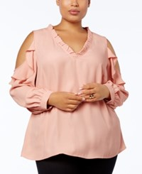Love Scarlett Plus Size Ruffled Cold Shoulder Top Marzipan