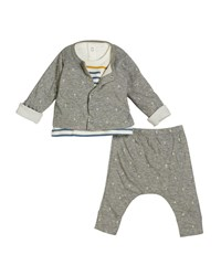 Petit Bateau Anchor Intarsia Cardigan And Pants W Striped Top Size 1 12 Months Gray