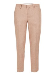 Topman Pink Wool Blend Skinny Fit Cropped Suit Trousers