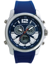 Sean John Men's Analog Digital Blue Silicone Strap Watch 55X49mm 10018061