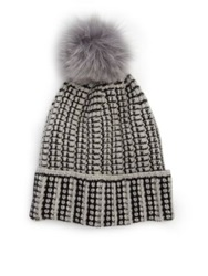 Diane Von Furstenberg Lola Fox Fur Pom Pom Wool And Cashmere Hat Grey