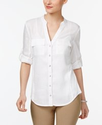 Inc International Concepts Petite Ribbed Side Shirt Only At Macy's Bright White