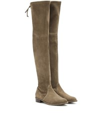 Stuart Weitzman Mytheresa.Com Exclusive Lowland Suede Over The Knee Boots Green