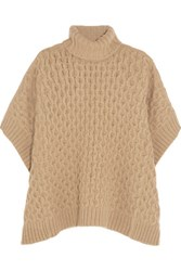 Michael Michael Kors Cable Knit Turtleneck Poncho Beige