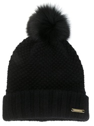Burberry Fox Fur Pom Pom Beanie Black