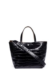 Elizabeth And James 'Eloise' Croc Embossed Leather Tote Black