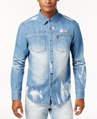 Sean John Men's Denim Shirt 3D Wash