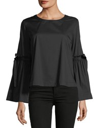 Laundry By Shelli Segal Tie Sleeve Crop Poplin Top Black