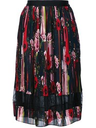 Jason Wu Floral Pleated Skirt Black