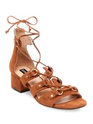 Design Lab Lord And Taylor Eldy Snakeskin Embossed Lace Up Sandals Cognac