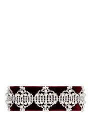 Fallon 'Victoriana' Faux Pearl Cubic Zirconia Velvet Choker Red