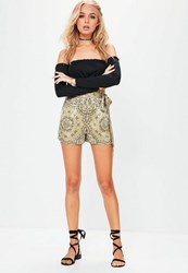 Missguided Gold Paisley Tie Detail High Waisted Shorts