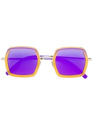 Cutler And Gross Square Hooded Sunglasses Yellow And Orange