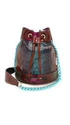 House Of Holland Snake Embossed Mini Bucket Bag Multi Snake