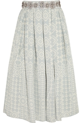 Holly Fulton Embellished Silk Crepe Skirt