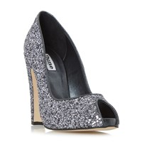 Dune Discoo Glitter Peep Toe Courts Pewter
