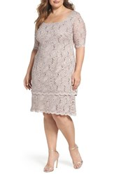 Alex Evenings Plus Size Women's Sequin Lace Shift Dress Cafe