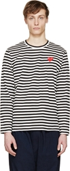 Comme Des Garcons Black And White Striped Logo T Shirt