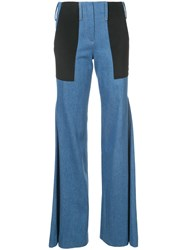 Hellessy Patchwork Flared Jeans Silk Cotton Blue