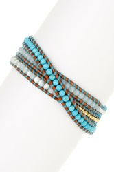 Chan Luu 18K Gold Plated Sterling Silver Turquoise Mix And Nugget Beaded Leather Wrap Bracelet Blue