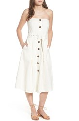 Moon River Linen And Cotton Strapless Dress Ivory