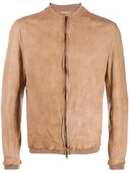 Salvatore Santoro Fitted Bomber Jacket Neutrals