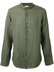Costumein Longsleeve Button Up Shirt Men Cotton 50 Green