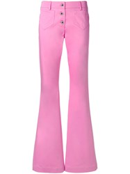 Moschino Retro Flared Jeans Pink And Purple