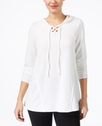 Style And Co Contrast Lace Up Hoodie Created For Macy's Winter White