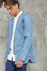 Forever 21 Denim Open Front Jacket Medium Denim