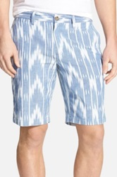 1901 'Eastport Ikat Print' Cotton Shorts Blue