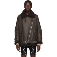 Acne Studios Ssense Exclusive Brown Velocite Suede Shearling Jacket