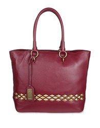 Badgley Mischka Carol Studded Leather Tote Wine