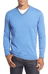 Men's Bugatchi Tipped Merino Wool V Neck Sweater Classic Blue