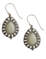 Lord And Taylor Sterling Silver Marcasite Jade Drop Earrings Jade Silver