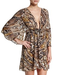 Gottex Sahara Animal Print Beach Dress Coverup Golden Leopard