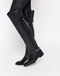 Asos Kayden Leather Harness Over The Knee Boots Black