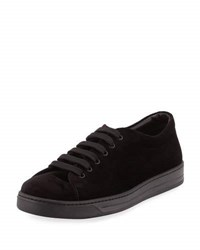 Prada Linea Rossa Gentleman Velvet Low Top Sneaker Black
