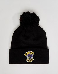Heist Beanie Bobble Hat With Badge Black