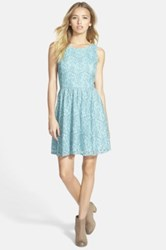 Frenchi V Back Lace Skater Dress Juniors Blue