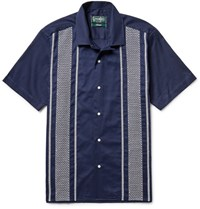 Gitman Brothers Vintage Camp Collar Embroidered Cotton Guayabera Shirt Navy