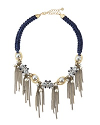Lydell Nyc Rhinestone And Pearly Bead Tassel Bib Necklace Blue