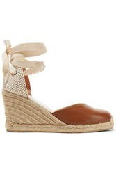 Soludos Lace Up Leather Wedge Espadrilles Tan