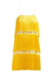 Sara Battaglia Fringed Crystal Embellished Dress Yellow