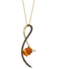 Le Vian Chocolatier Citrine 1 3 4 Ct. T.W. And Chocolate Diamond 1 3 Ct. T.W. Pendant Necklace In 14K Gold Yellow Gold