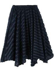 Julien David Striped Frayed Skirt Blue