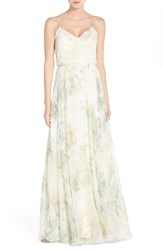 Women's Jenny Yoo 'Inesse' Print Chiffon V Neck Sleeveless Gown Vintage Floral Ivory Sage Rose