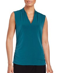 T Tahari Bellinda Ruched Knit Shell Beau Blue